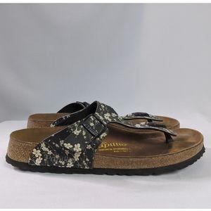 Birkenstock Papillio Black Floral Sandals Sz 10 EU